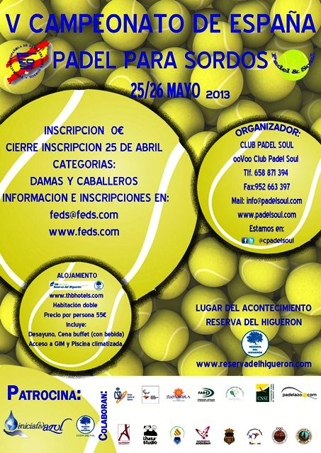 V Campeonato de Espaa de Pdel para Personas Sordas en Fuengirola (Malaga)
